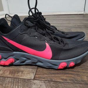 Nike React Element 55 Sz 8.5  Black/Solar Red-Cool